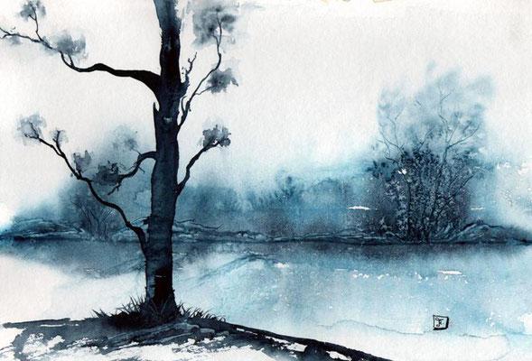 Winterlandschaft - Blau - monochrom- Aquarell - 24 x 32 cm - zu verkaufen