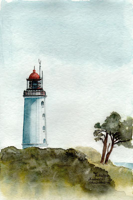 Leuchtturm Borkum - Aquarell - Postkarte -  nicht mehr verfügbar