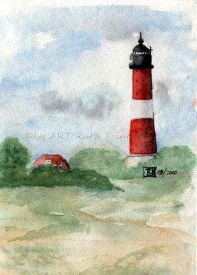 Leuchtturm Westerhever Sand - Aquarell - 25x 25cm - zu verkaufen