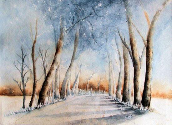 Baumallee im Winter - Aquarell - 24 x 32 cm -  zu verkaufen