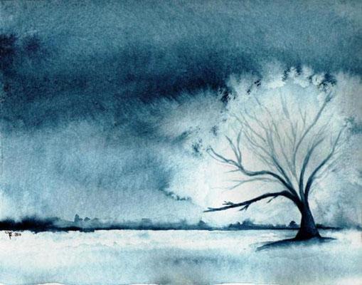 Baum - monochrom - Aquarell - 24 x 32 cm -  zu verkaufen