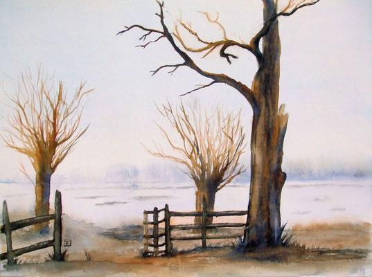 Winter - Landschaft in Polen - monochrom- Aquarell - 30 x 40 cm - zu verkaufen