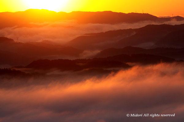 朝日はキラキラと雲海を照らし始めました。感動的!