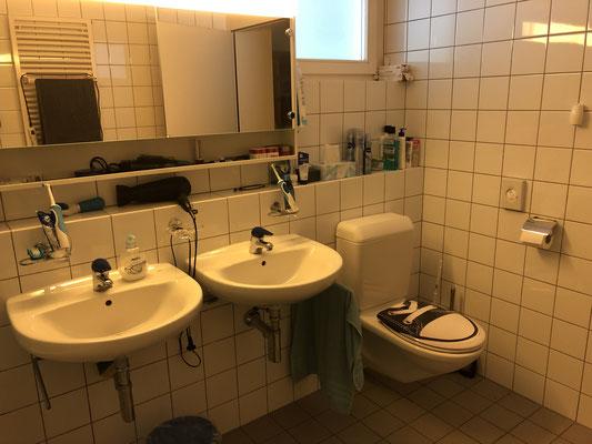 mit Toilette und Doppellavabo