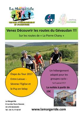 Séjour cyclos, week-end cyclos, Centre La margeride, Saugues, Auvergne