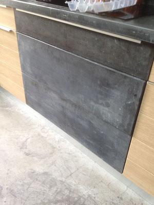 habillage terroir de cuisine & façade lave vaisselle en zinc vieilli