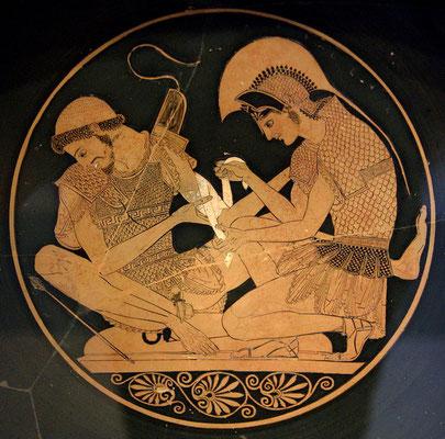 Aquiles curando las heridas de Patroclo, Antes Museum, Berlín.
