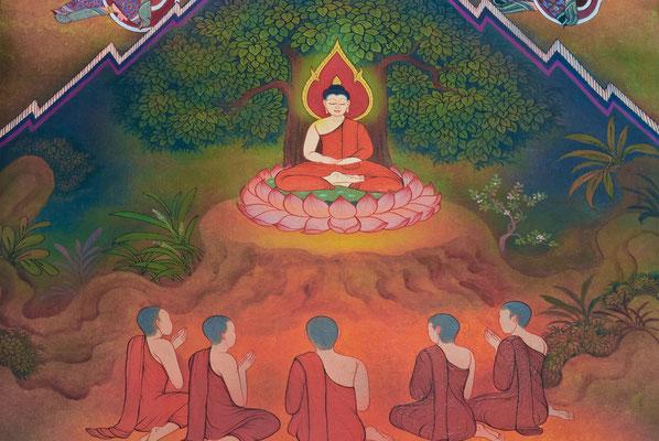 El Sermón de Benarés. Buddha transmite el Dharma a los cinco primeros bhikkus, antiguos compañeros de sus retiros ascéticos.