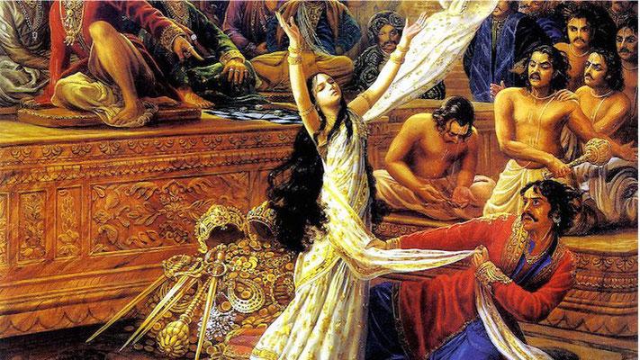 Humillación de Draupadi. Mahabharata.