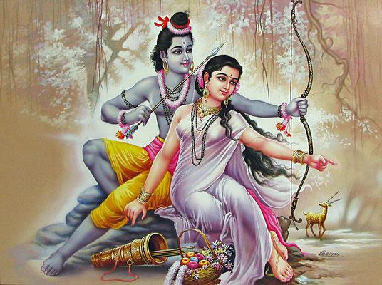 Rama y Sita, protagonistas del Ramayana.