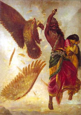 Rávana secuestra a Sita. Raja Ravi Varma