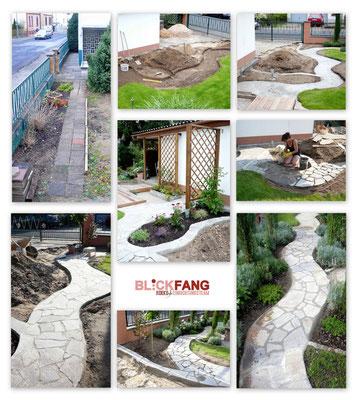 Gartenweg mit Polygonalplatten