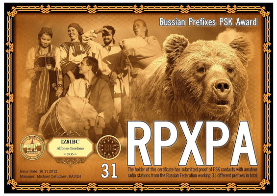 Russian Federation working 31 different prefixes in total