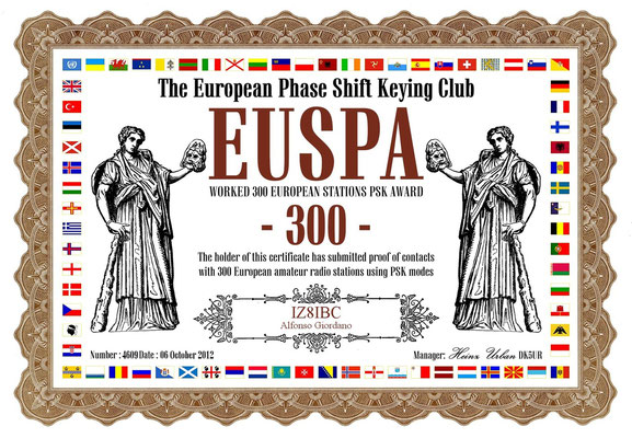 Worked 300 European Stations PSK Award