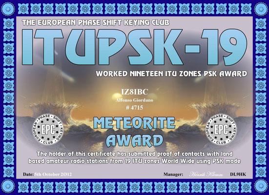 Worked 19 ITU Zones PSK Award