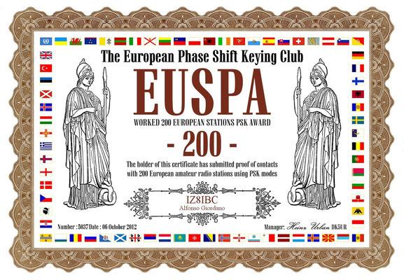 Worked 200 European Stations PSK Award