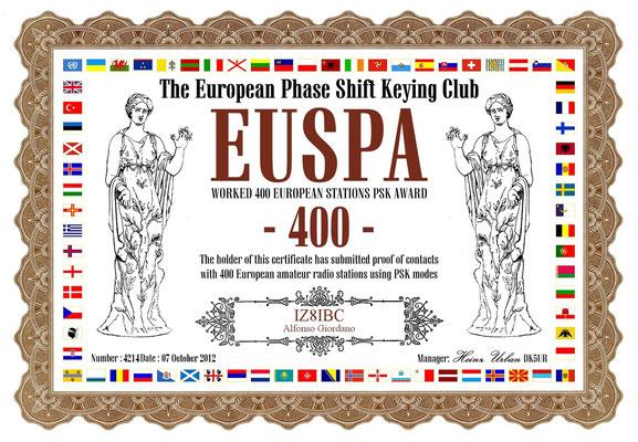 Worked 400 European Stations PSK Award