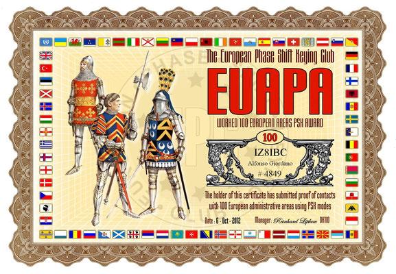 Worked 100 European Areas PSK Award