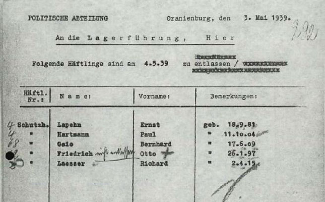 Beabsichtige und widerrufene Entlassung aus dem KZ Sachsenhausen