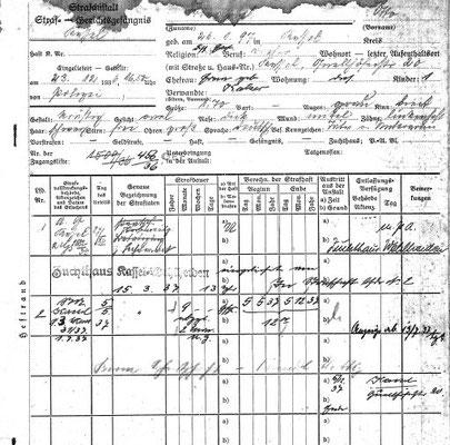 Häftlingskarte für Otto Friedrich
