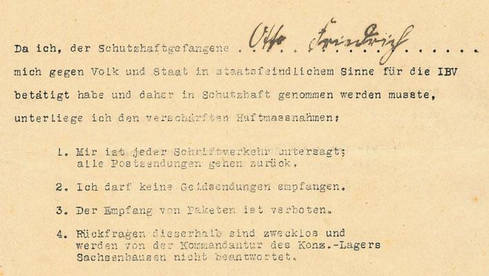 Verschärfte Haftbedingungen für Otto Friedrich