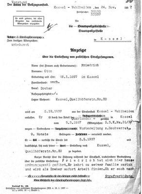 Entlassung Friedrichs im Dezember 1937 aus der Strafhaft