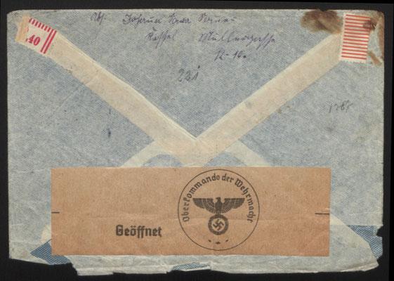 Öffnungsvermerk der Wehrmacht auf einem Brief Johanna Sommers