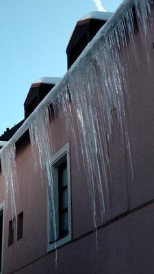Eiszapfen entdeckt beim Schneemann Jakob hinterm Haus