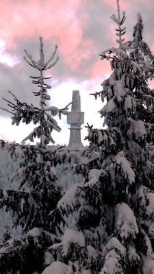 Blick zum Schneeberg 1051 m Winterwanderung von der Ochsenkopfseilschwebebahn Talstation Nord in Bischofsgrün hoch auf den Ochsenkopf 1024 m