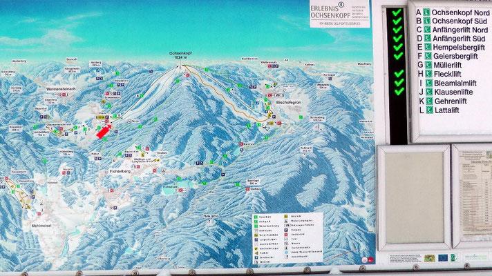 Infotafel Übersicht der geöffneten Skilifte im Fichtelgebirge