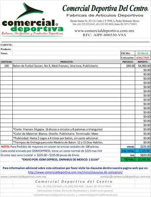 ejemplo de cotizaciones enviadas en formato pdf