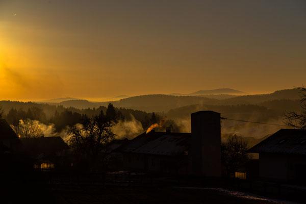 Morgennebel über Bischofsmais