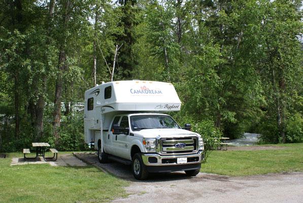 Campground bei Radium Hot Springs, sehr ruhiger Platz in der Nähe der Radium Hot Springs