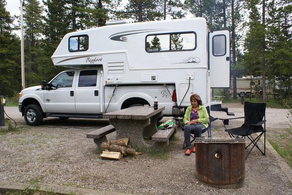 Unser Platz im Campground Lake Louise der fast jede Nacht von Bären Besucht wird