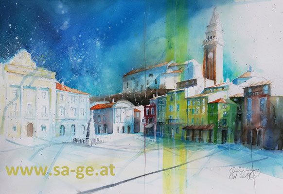 Tartini Platz in Piran, 75x52cm, 2019/10