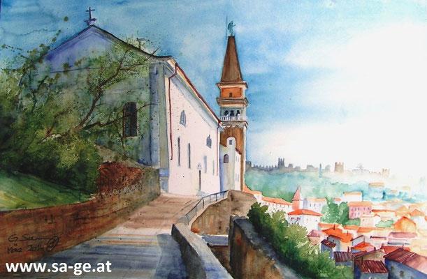 Piran - St. Georgs Kathedrale 36x56cm, 2014