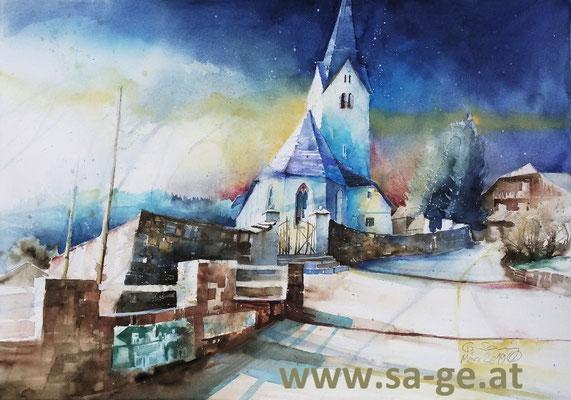 Pfarrkirche Prebl, 75x52cm, 2019/03