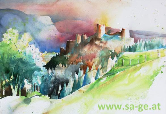 Schlossberg in Griffen - Blick von der Oberen Gemeinde - 75x52cm, 2019/08