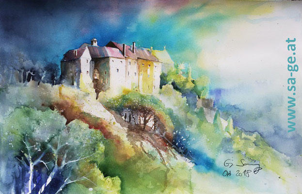 Burg Altpernstein - Micheldorf, 56x36cm, 2018/10 -X-