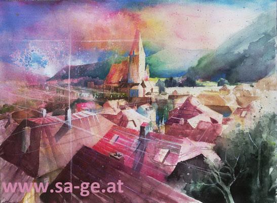 Weißenkirchen - Dachlandschaft, 67x50cm, 2020/08