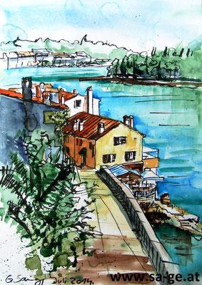 Rovinj - Blick auf Ulica Sv. Kriza - A3 Skizzenblock