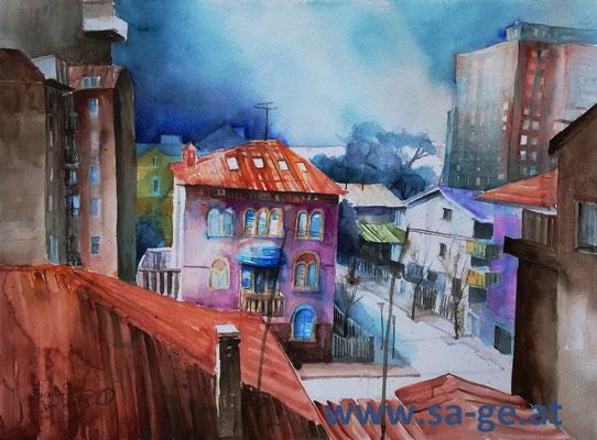 Grado - Blick vom Hotel Trigon, 76x56cm, 2018/01