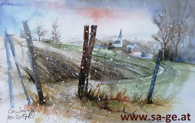 Blick auf das winterliche St. Johann, 56x36cm, 2017/11