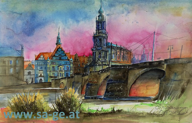 Am Elbufer in Dresden - 56x35cm, 2015