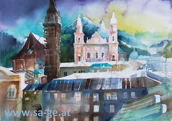 Blick von der Festspielterrasse in Salzburg - 75x52cm, 2019/05