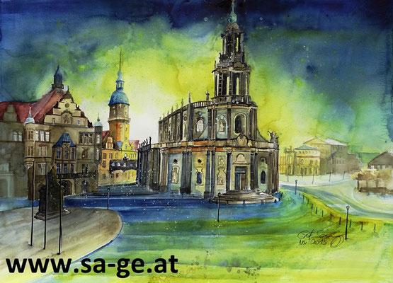Blick auf den Schlossplatz in Dresden - 76x56cm, 2015