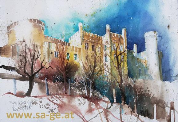 Schloss Wolfsberg, 75x52cm, 2019/12 - Frei nach einem Foto von Hubert Isopp, Attribution 2.5 Generic (CC BY 2.5)