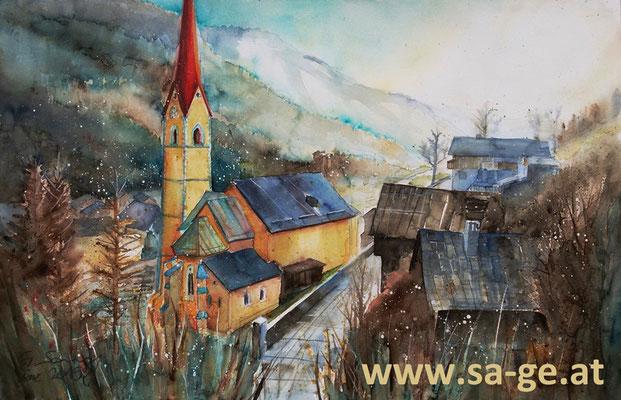 Pfarrkirche Stall im Mölltal - 56x36cm, 2016 -X-