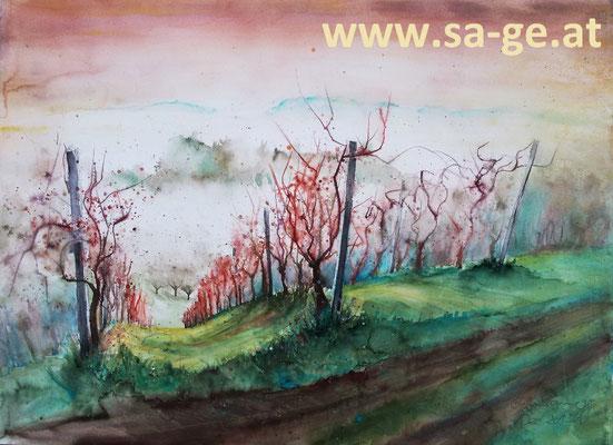 Am Weinwanderweg in Wolfsberg - 76x56cm, 2015