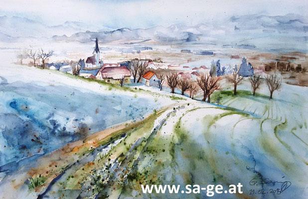 Winterlicher Blick auf St. Johann im Lavanttal - 56x36cm, 2015